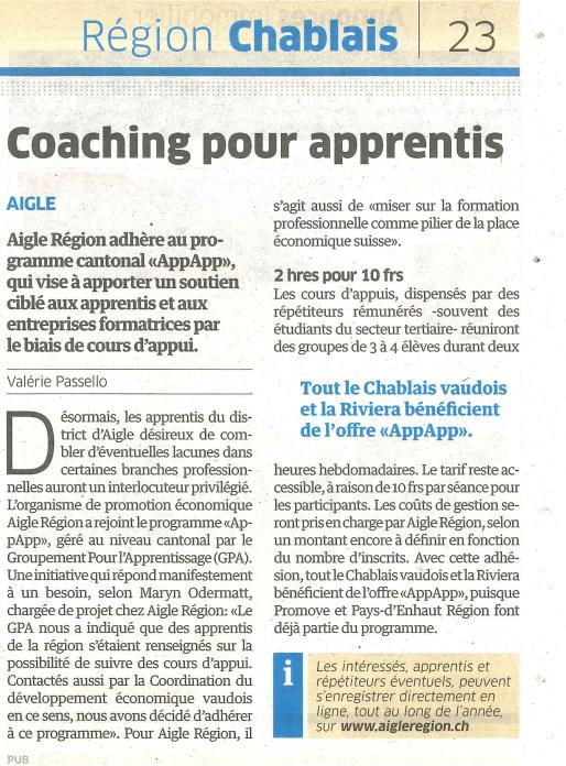 Article AppApp - Région Chablais 2017